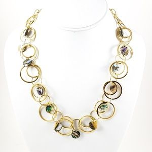 Lia Sophia Necklace Mother of Pearl Gold Open Link